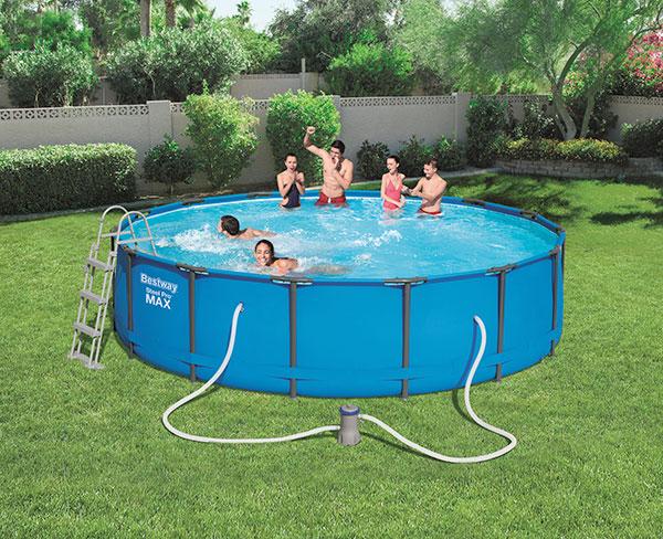 Piscine bestway ronde steel pro max 457 x 107 cm avec for Best way piscine