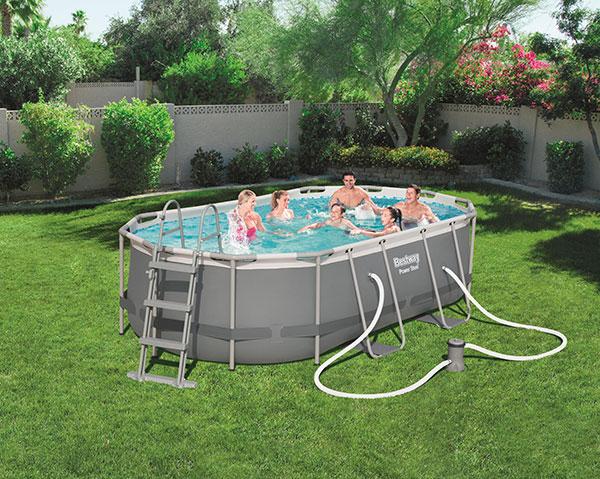 Piscine bestway ovale power steel 427 x 250 x 100 cm avec for Best way piscine