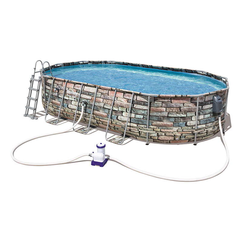 Piscine Bestway Ovale Power Steel Stone 610 x 366 x 122 cm