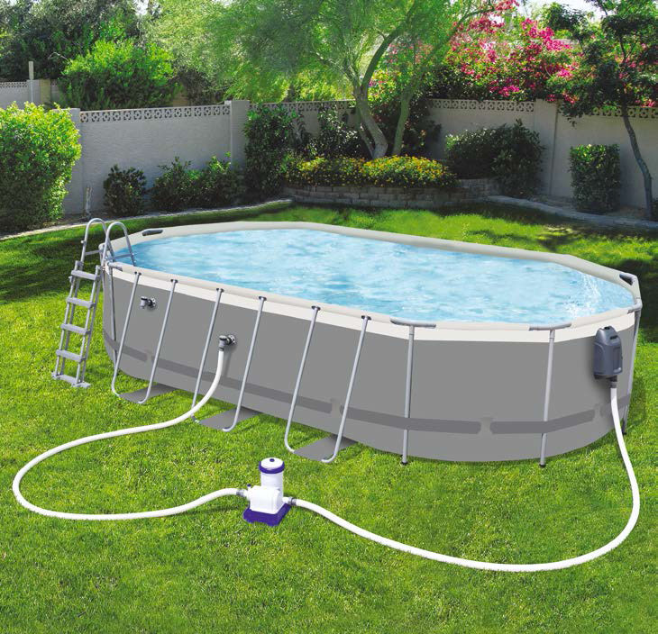 Piscine Bestway Ovale Power Steel Grey 610 x 366 x 122 cm