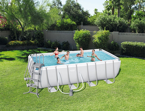 Piscine bestway rectangulaire power steel frame 488 x 244 for Piscine rectangulaire bestway