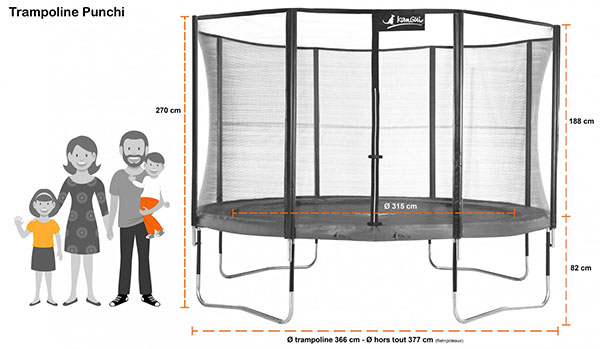 trampoline punchi atoll 360 avec chelle et b che. Black Bedroom Furniture Sets. Home Design Ideas