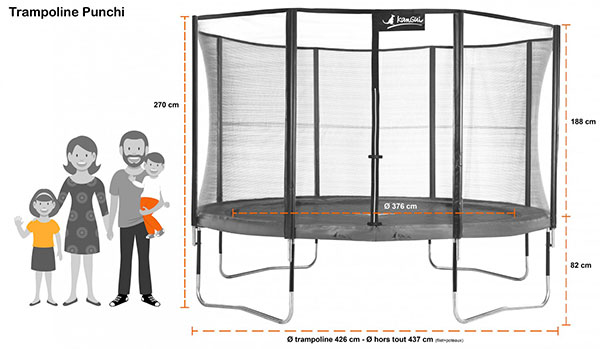 trampoline punchi aloe 430 avec chelle. Black Bedroom Furniture Sets. Home Design Ideas
