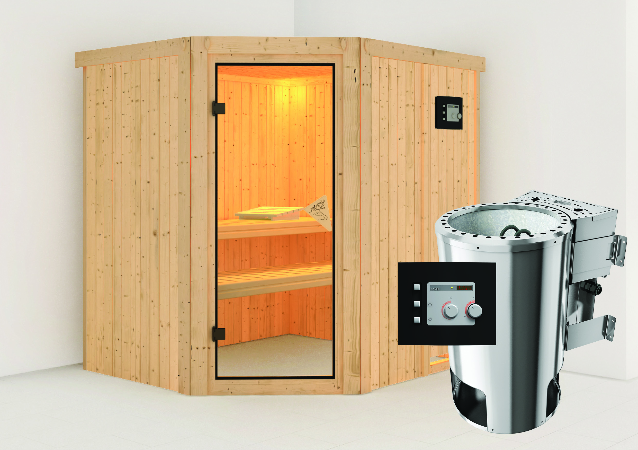sauna vapeur lilja avec po le bio plug play 3 6 kw avec commande externe. Black Bedroom Furniture Sets. Home Design Ideas