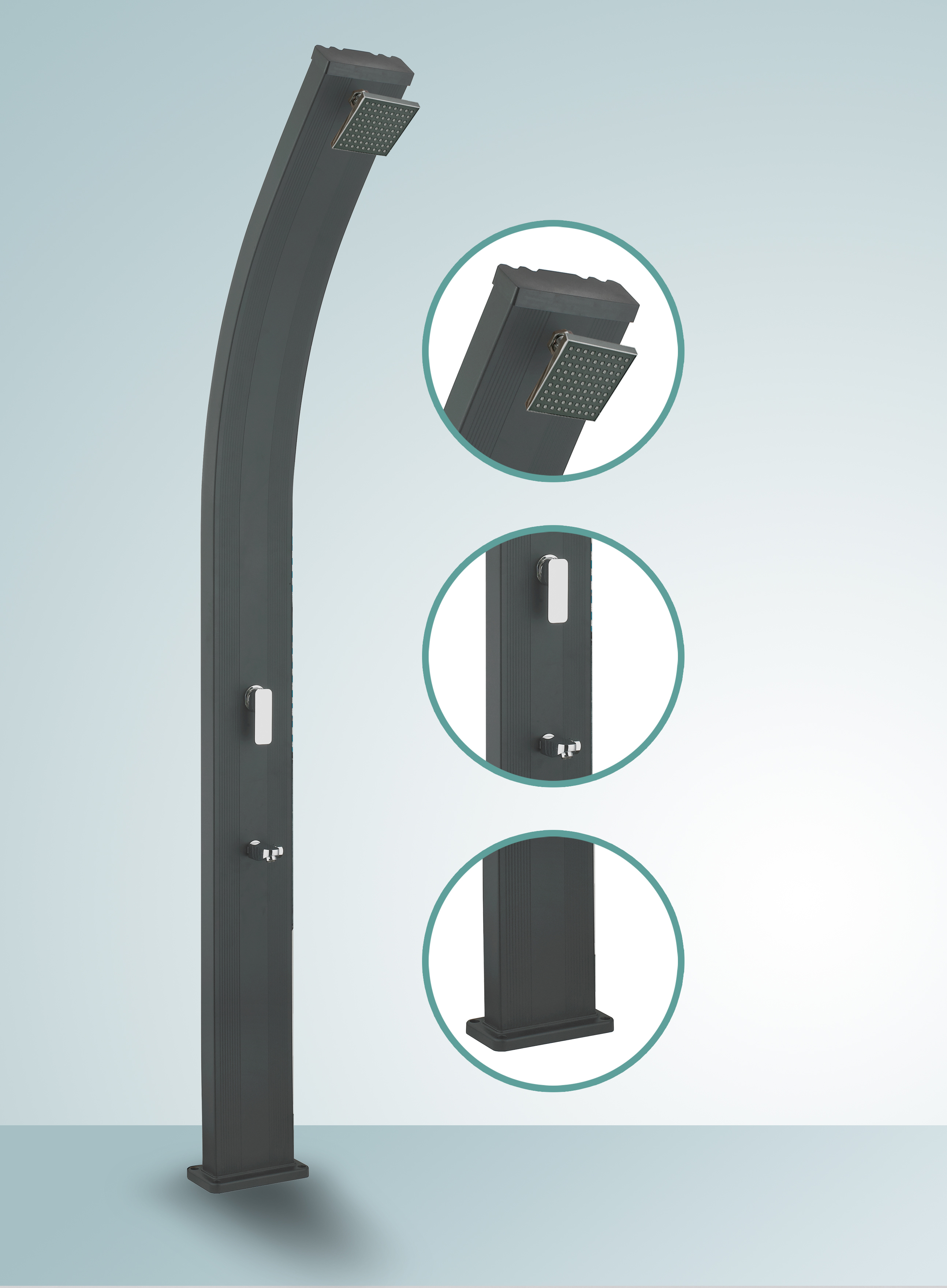 douche solaire courbee alu black 30l. Black Bedroom Furniture Sets. Home Design Ideas