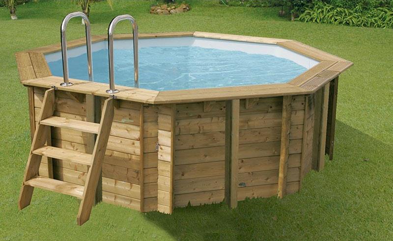 piscine bois sunwater ronde 360 x 120 liner bleu. Black Bedroom Furniture Sets. Home Design Ideas